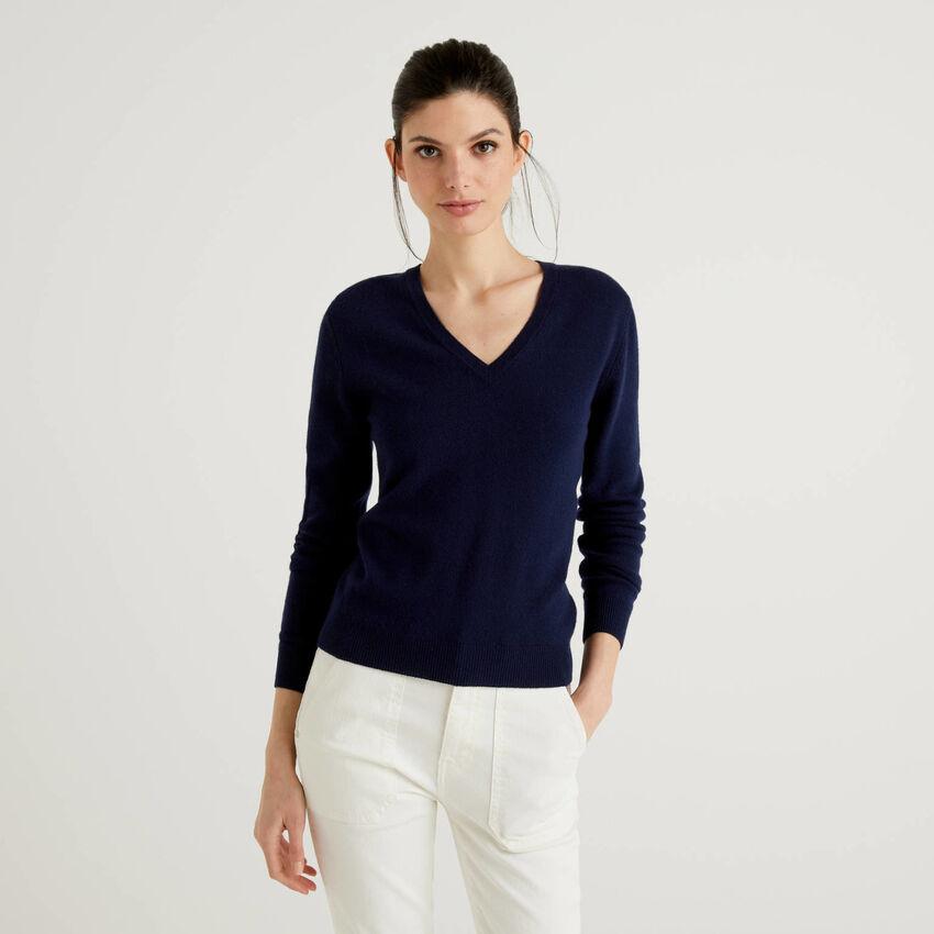 Maglia con scollo a V blu scuro in pura lana vergine