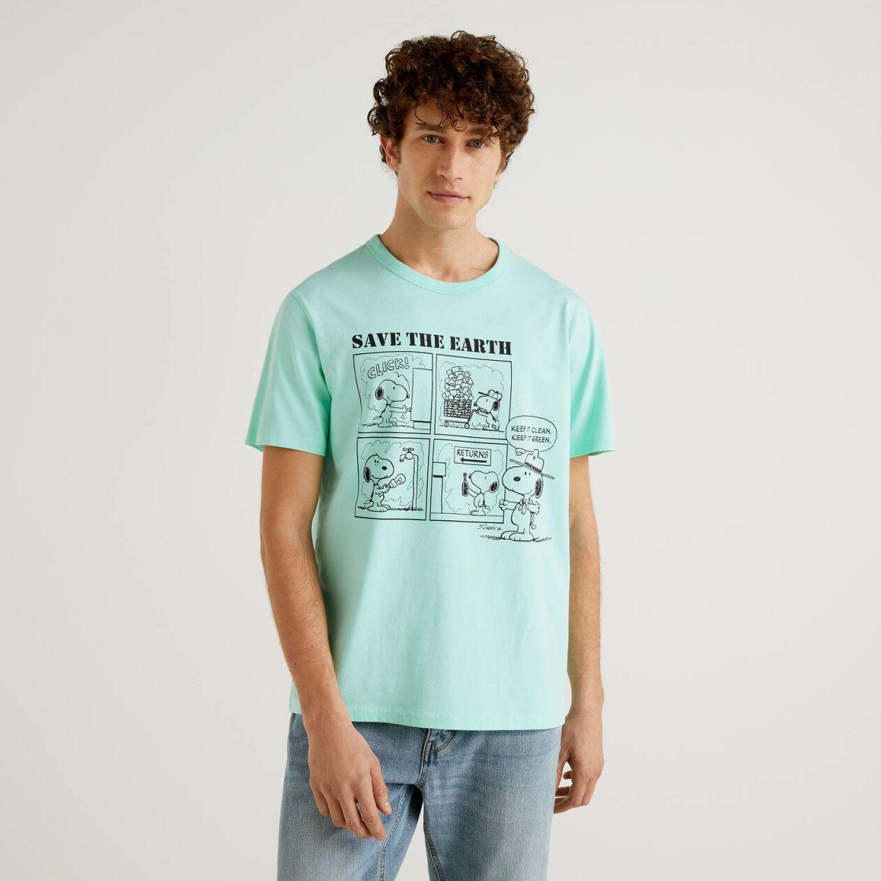 T-shirt Peanuts verde acqua