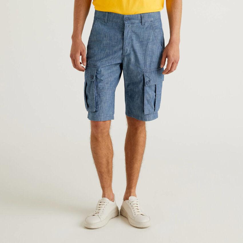 Bermuda cargo effetto jeans