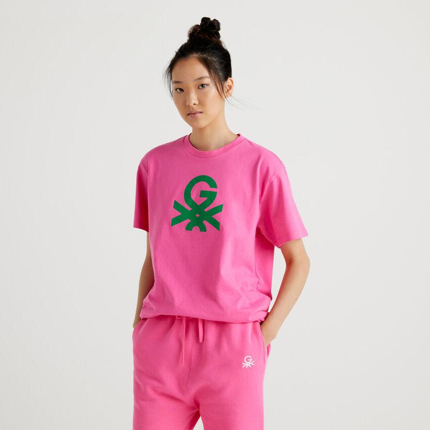 T-shirt unisex fucsia con logo by Ghali
