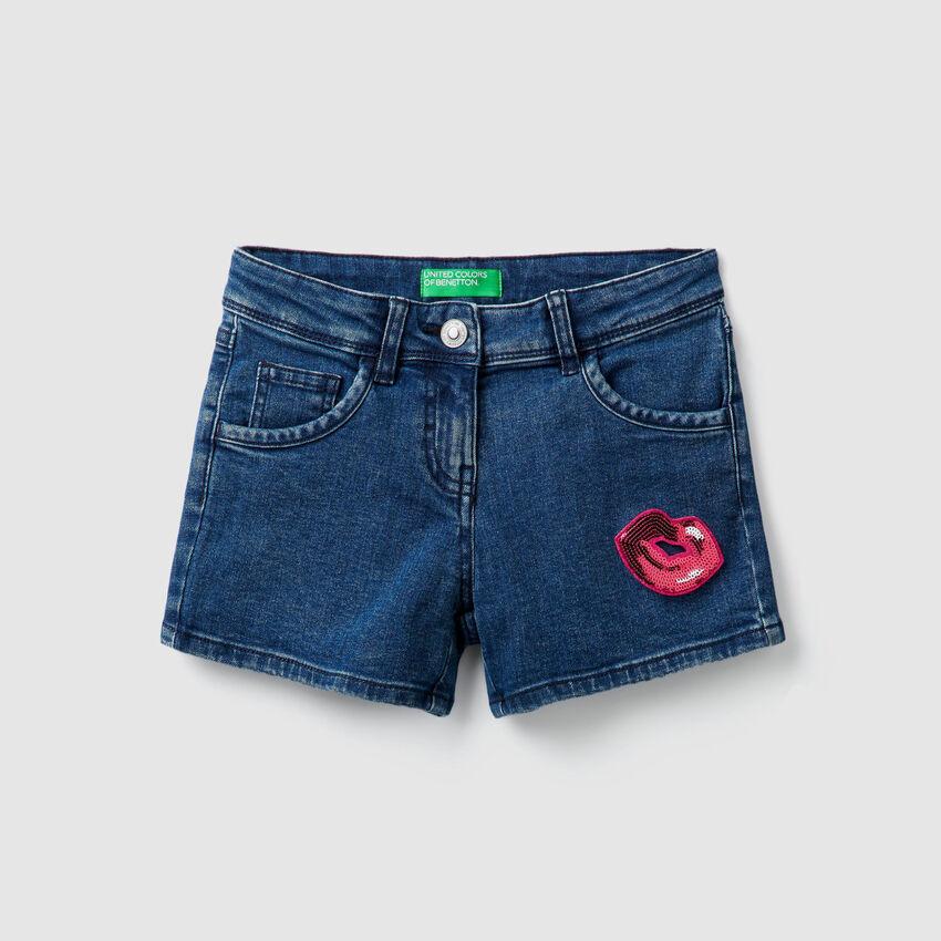 Shorts in denim con paillettes