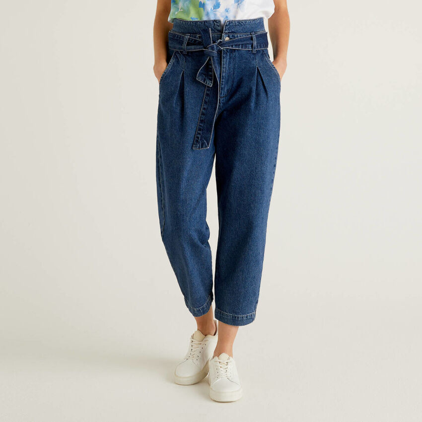 Jeans paperbag in 100% cotone