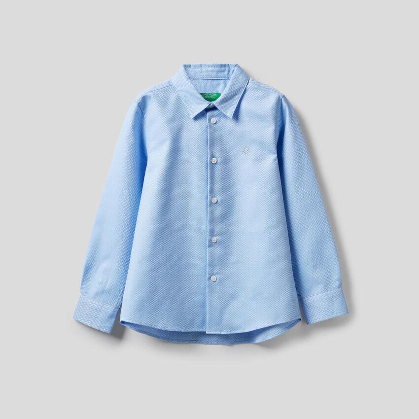 Camicia in cotone con logo ricamato