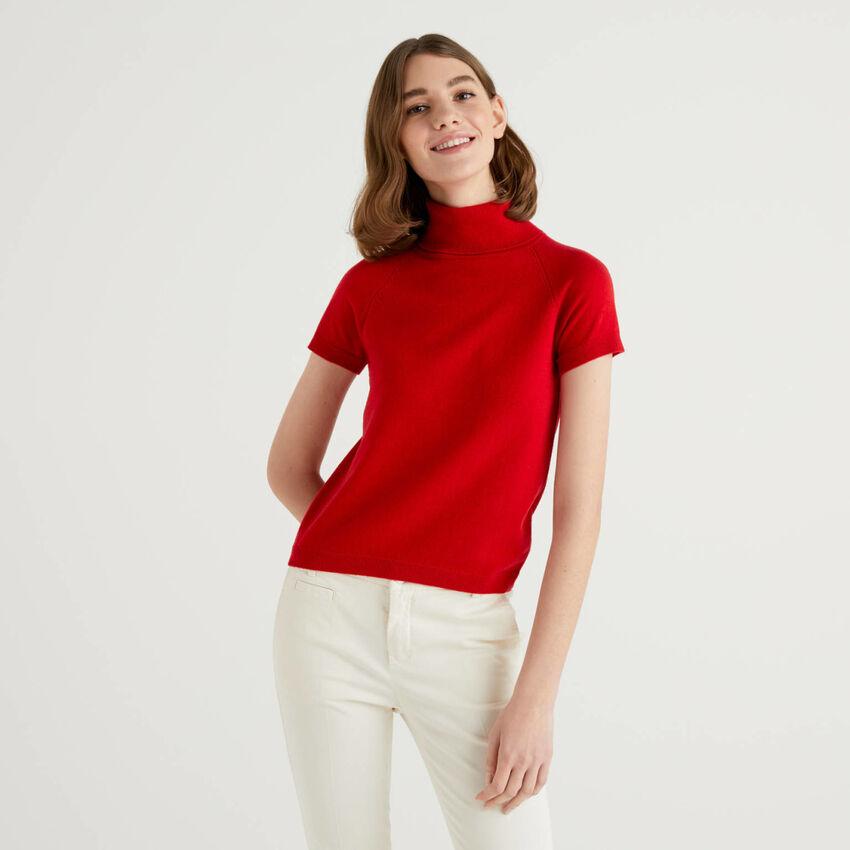 Dolcevita rosso a maniche corte in misto lana e cashmere