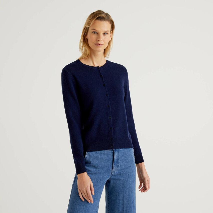 Cardigan girocollo blu scuro in pura lana vergine
