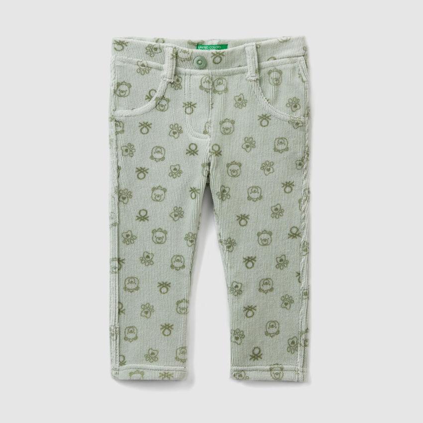 Pantaloni stampati a costine