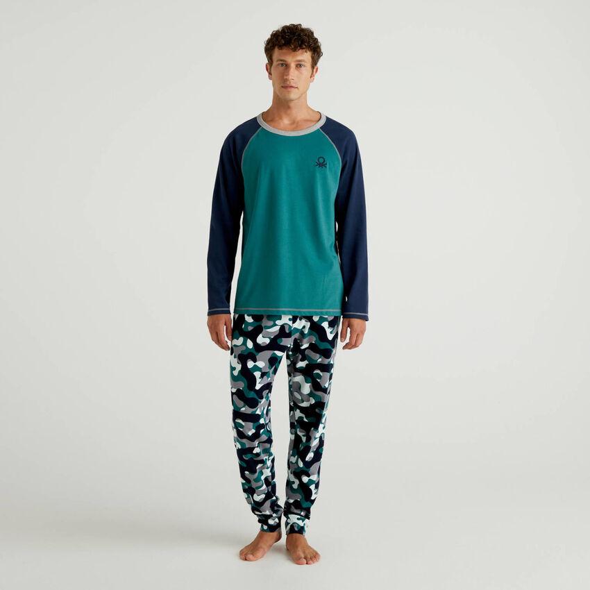 Pigiama in cotone con pantaloni fantasia