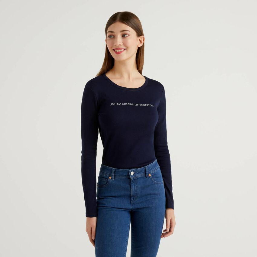 T-shirt a manica lunga 100% cotone blu scuro