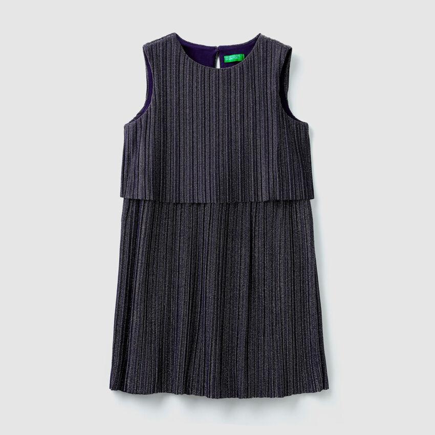 Vestito plissé con lurex