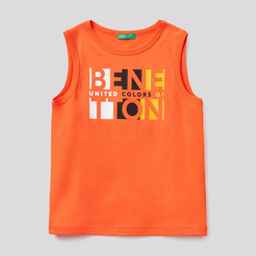 T-shirt smanicata con stampa logo