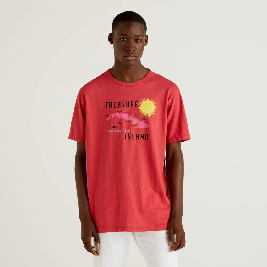 T-shirt rossa 100% cotone con stampa
