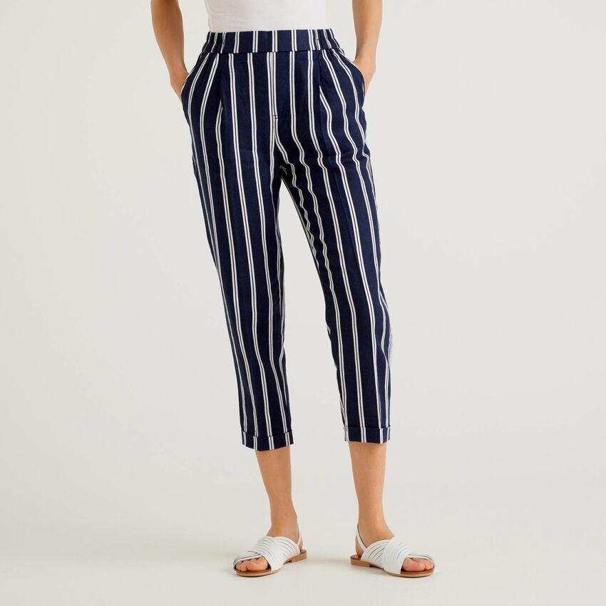 Pantaloni 100% lino stampa fantasia