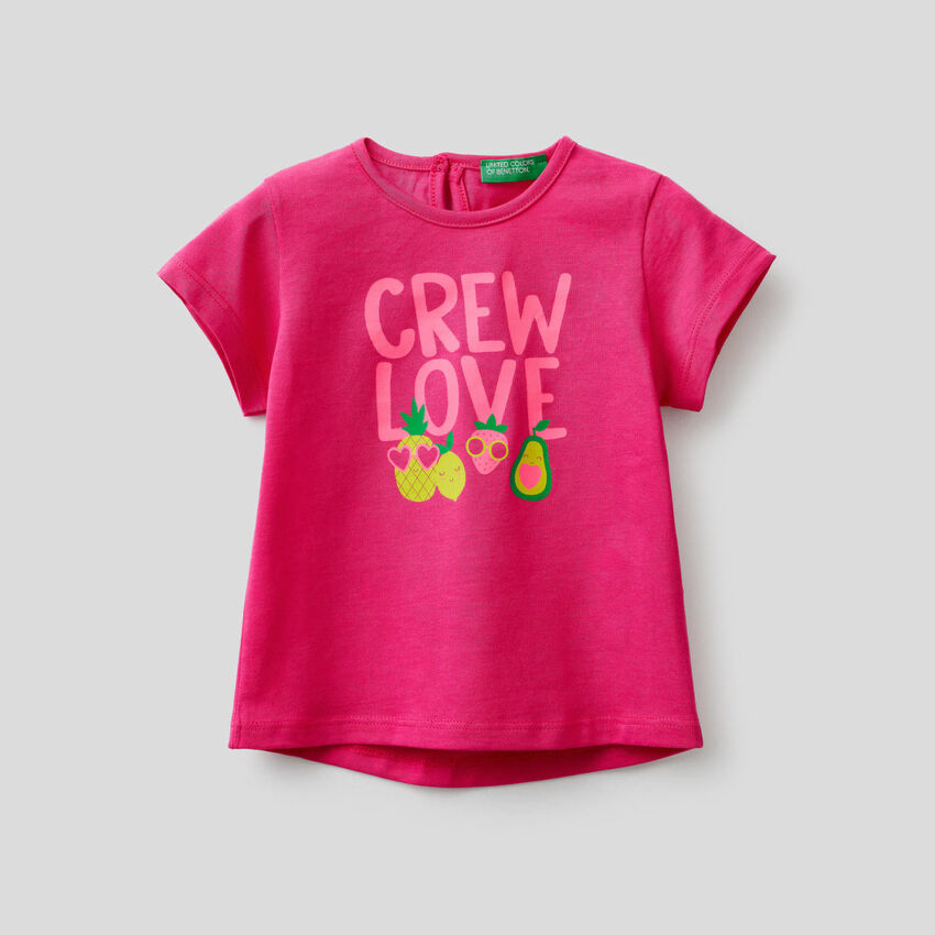 T-shirt con stampa fluo