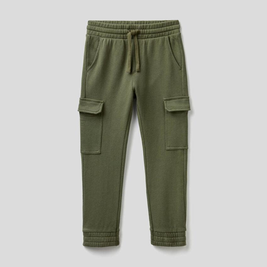 Pantaloni cargo in felpa di cotone