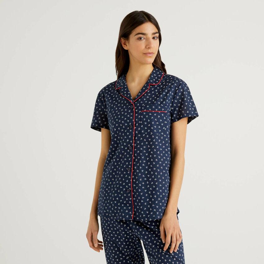 Camicetta da pigiama in puro cotone