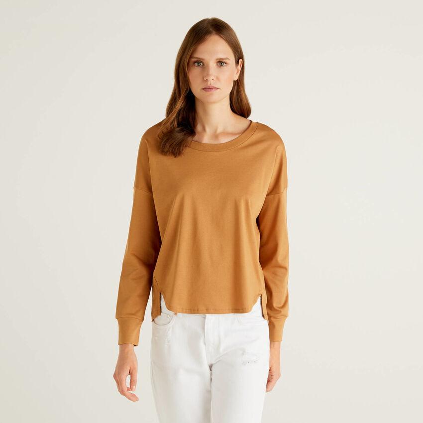 T-shirt manica lunga in 100% cotone