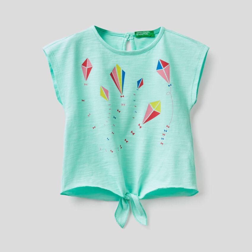 T-shirt 100% cotone con fiocco sul fondo