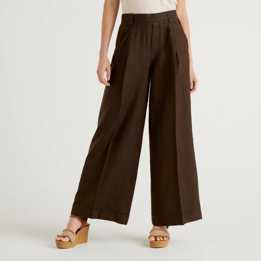 Pantaloni a gamba ampia in 100% lino