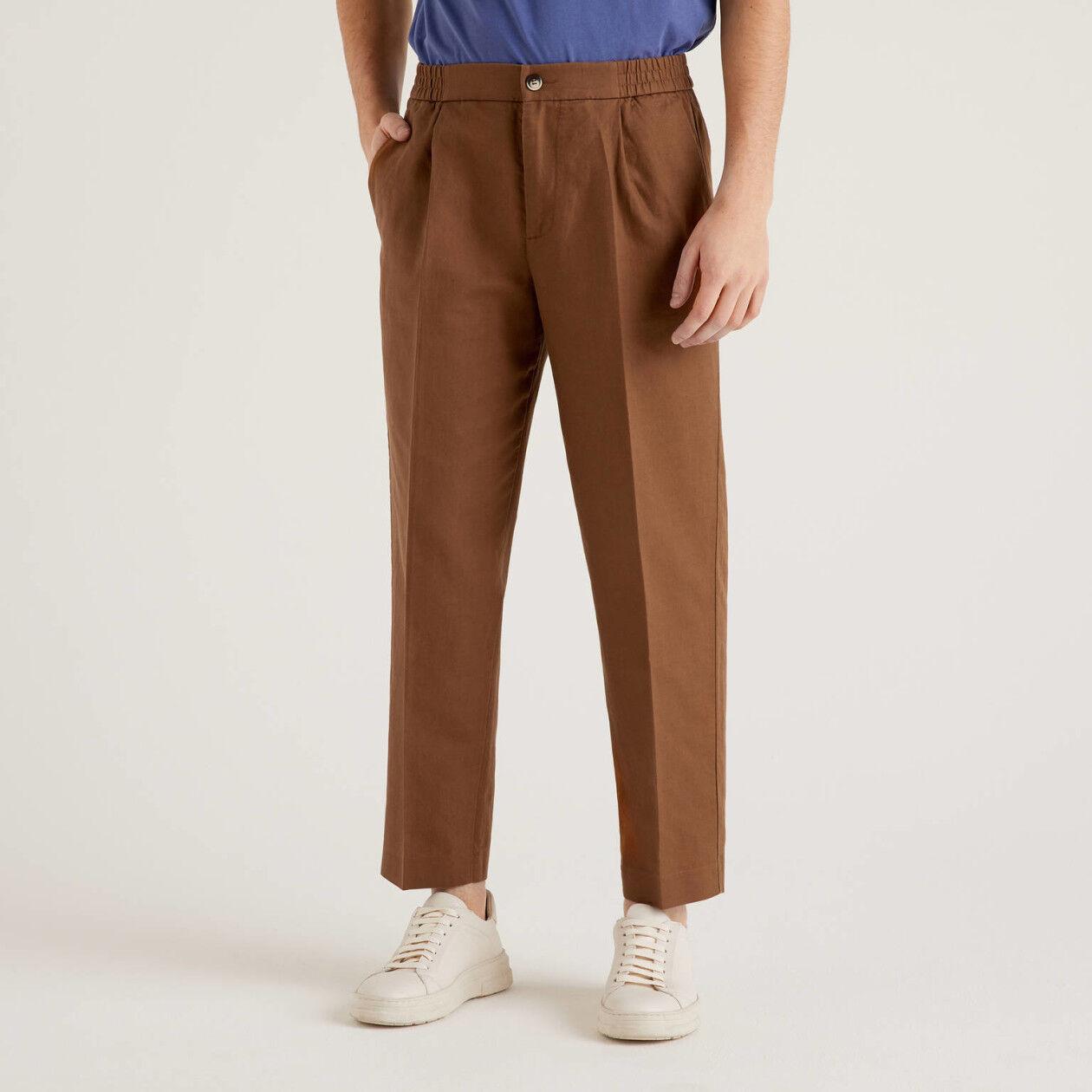 Pantaloni misto lino con elastico in vita
