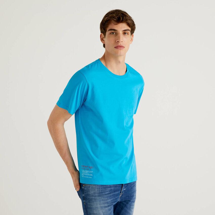 T-shirt bluette 100% cotone con stampa