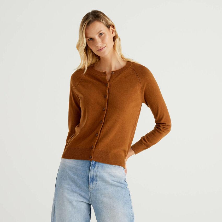 Cardigan girocollo marrone in misto lana e cashmere