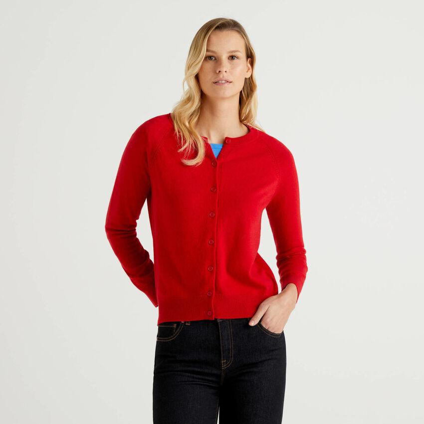 Cardigan girocollo rosso in misto lana e cashmere