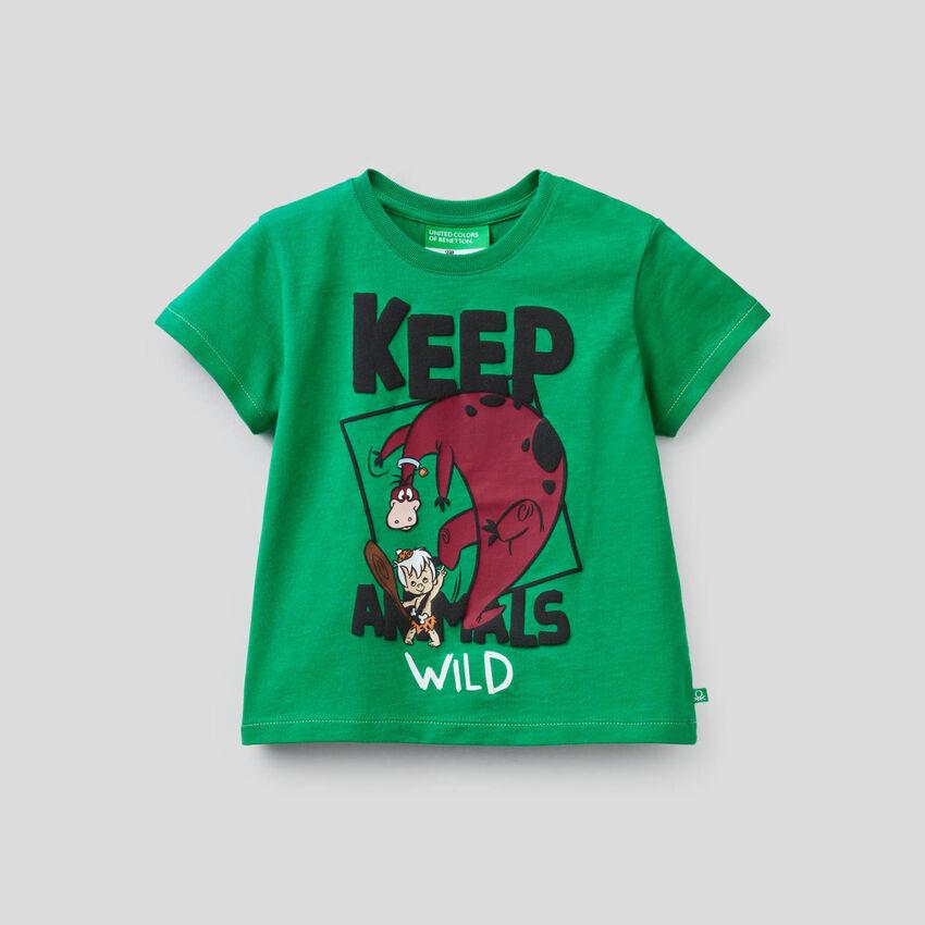 T-shirt verde con stampa I Flinstones