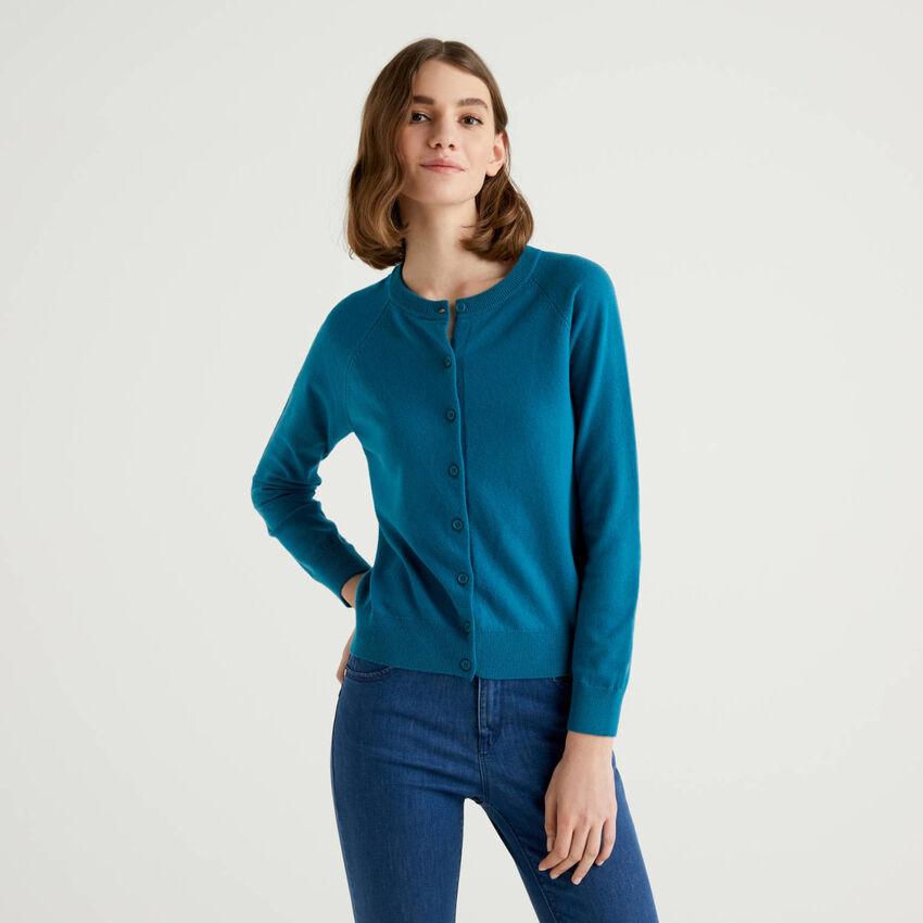 Cardigan girocollo ottanio in misto lana e cashmere