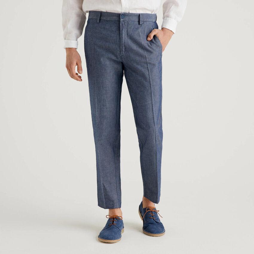 Pantaloni in denim di cotone misto lino