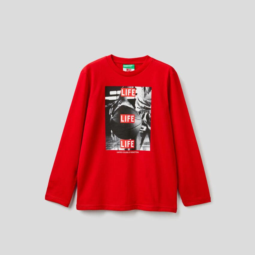 T-shirt Life manica lunga in cotone bio