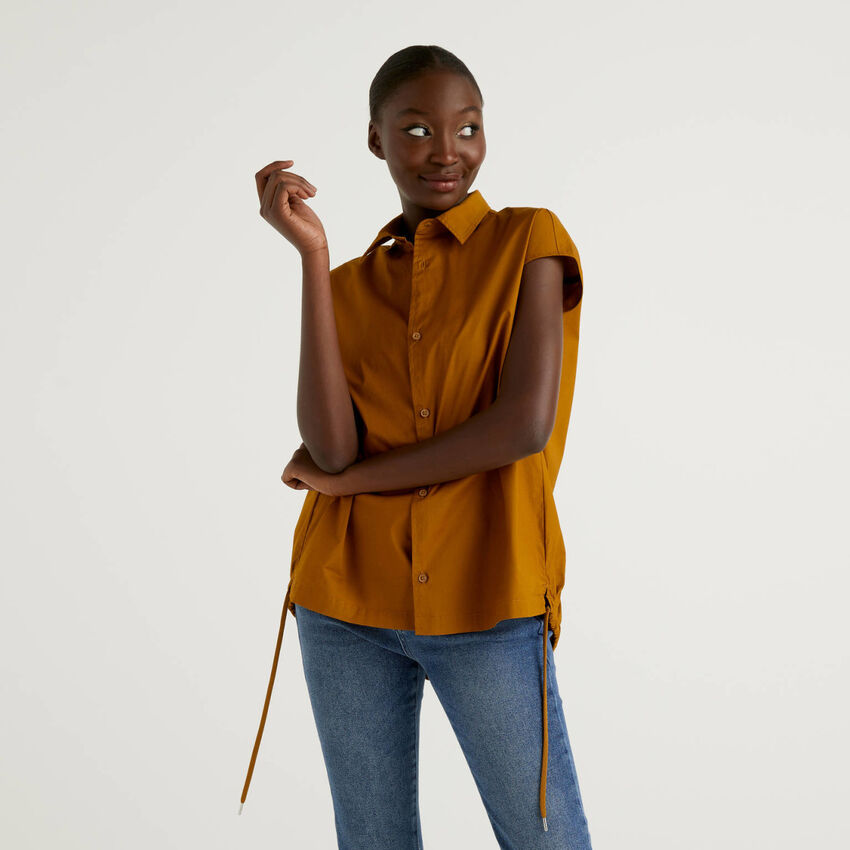 Blusa in cotone stretch con coulisse