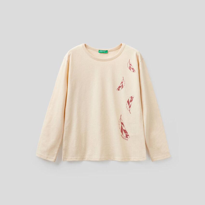 T-shirt manica lunga con stampa glitter