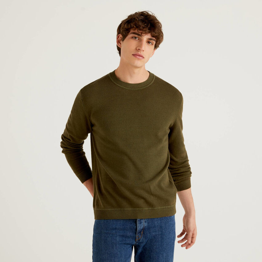 Maglia girocollo in misto lana