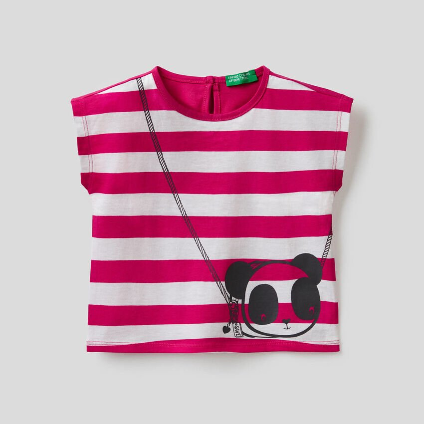 T-shirt a righe con stampa