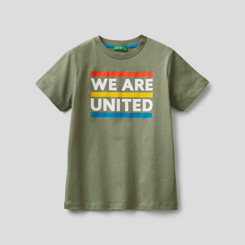 T-shirt in cotone con slogan