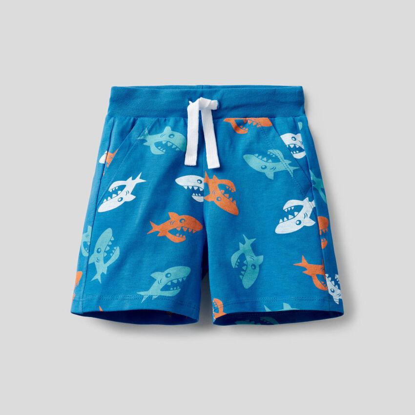Shorts stampati in 100% cotone
