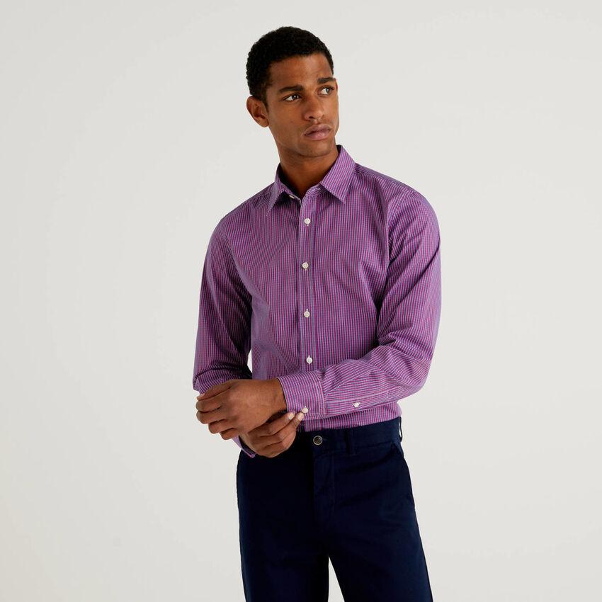 Camicia  slim fit in cotone tinto filo