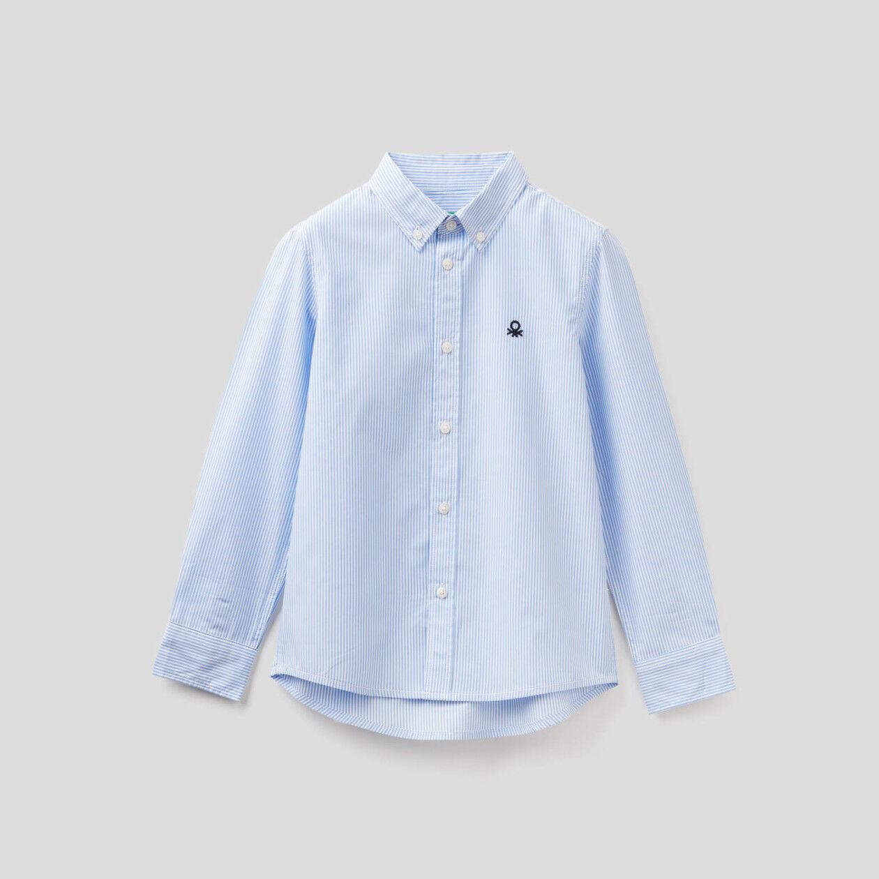 Camicia sportiva a righe in puro cotone