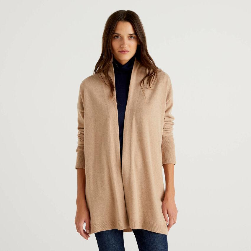 Cardigan cammello in misto lana e cashmere