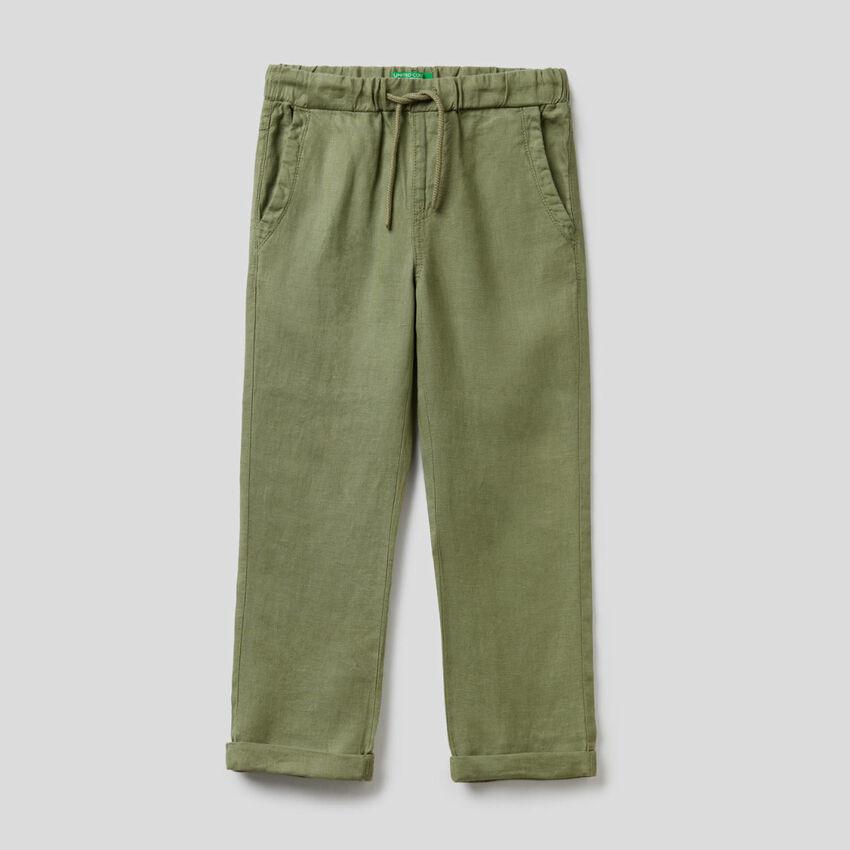 Pantaloni 100% lino con coulisse
