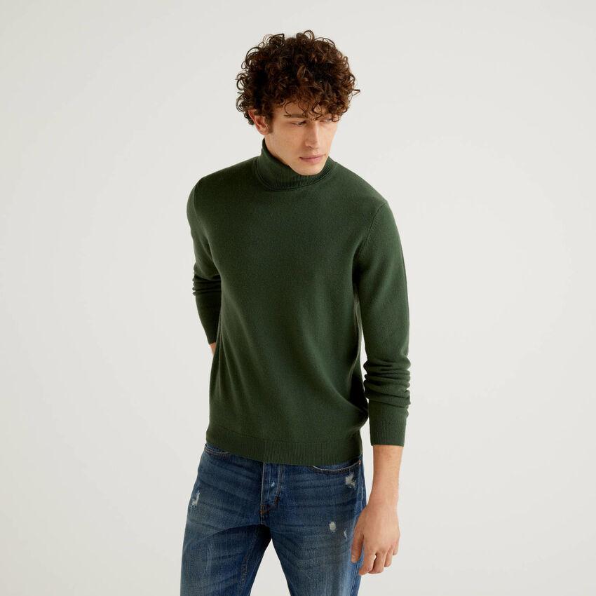 Dolcevita verde militare in pura lana vergine