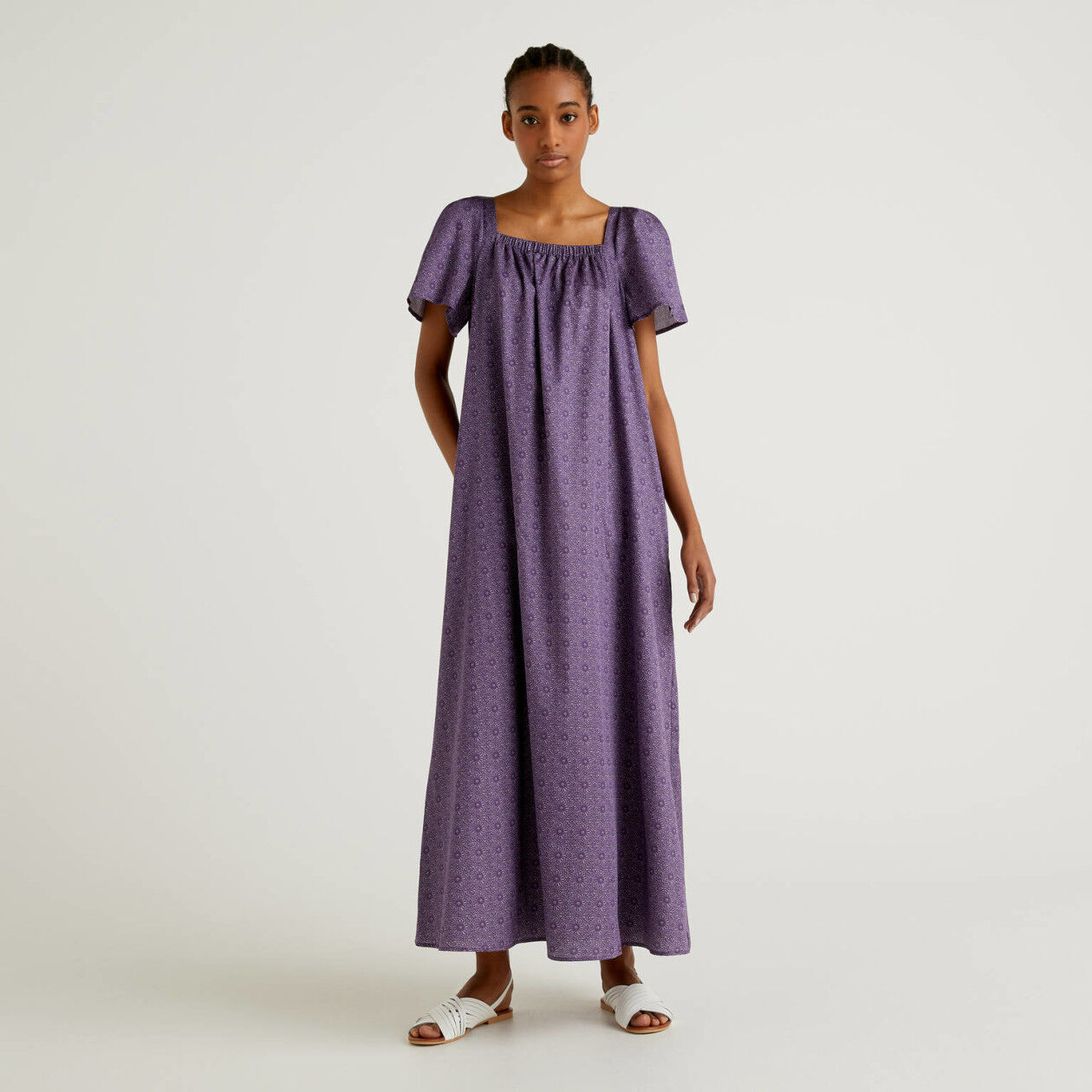 Vestito lungo in cotone stampato