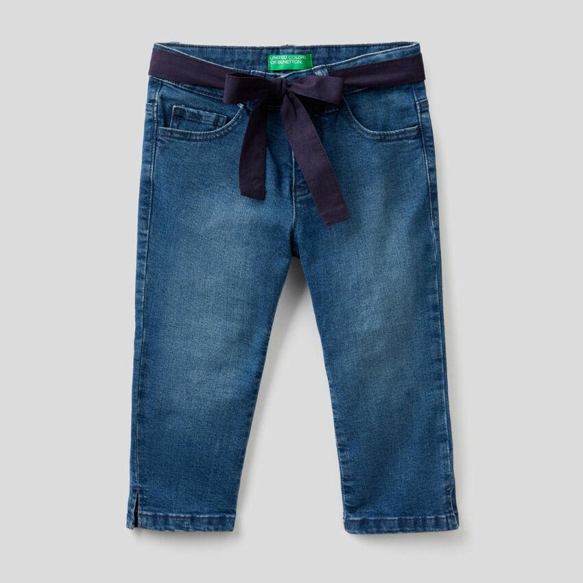 Jeans stretch con cintura in tessuto