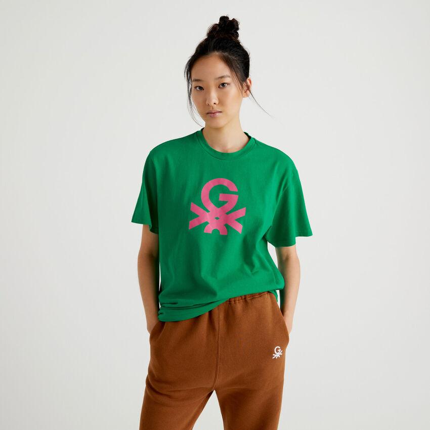 T-shirt unisex verde con logo by Ghali