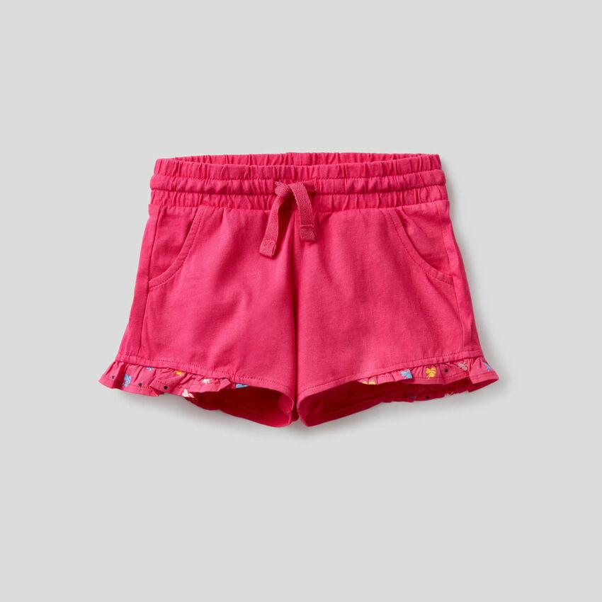 Shorts 100% cotone con rouche