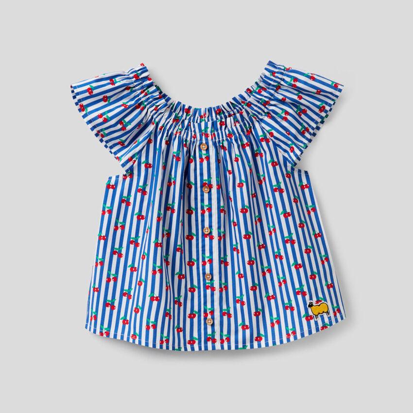 Blusa stampata in 100% cotone