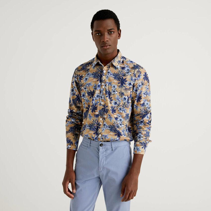 Camicia 100% cotone con stampa botanica