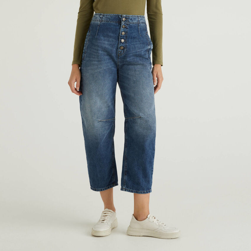 Jeans slouchy in 100% cotone