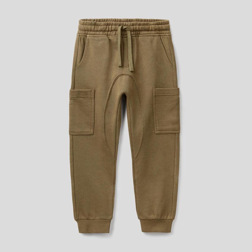 Pantaloni cargo in felpa di puro cotone