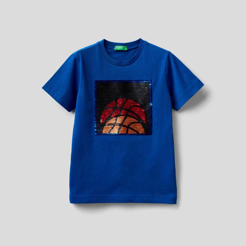 T-shirt in puro cotone con paillettes
